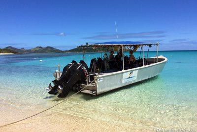 The speedboat of Vertical Blue Diving