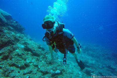 The dive spot Tom's Thumb