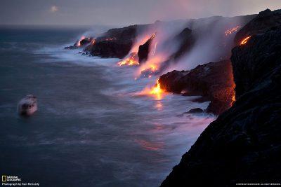 Lava flow reaches the sea on Big Island