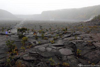 The cold lava lake of Kilauea Iki Crater