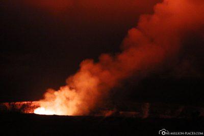 Das Glühen des Halema'uma'u Krater