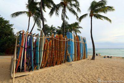 Surfboards at Waikiki Beach