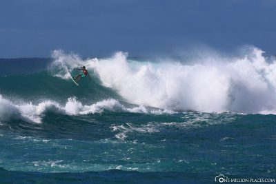 Surfers on the north coast of Oahu