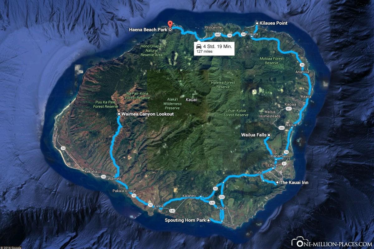 Route, Kauai, Hawaii, USA, Island Tour, On Your Own, Travelreport