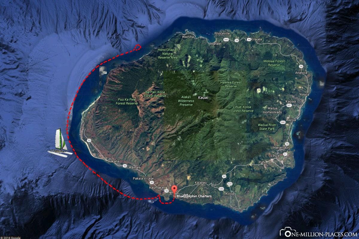 Route, Napali Coast, Kauai, Catamaran Tour, Hawaii, USA, Travel Report