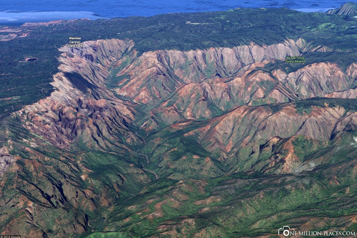 Google Earth, Waimea Canyon, Kauai, Hawaii, USA, Island Tour, On Your Own, Travelreport