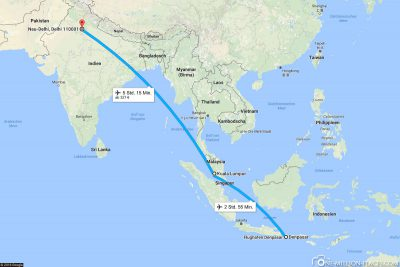 Our flight route from Denpasar via Kuala Lumpur to New Delhi