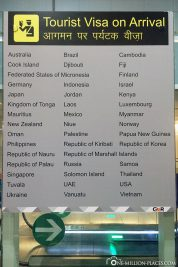 Information board on the new Tourist Visa on Arrival