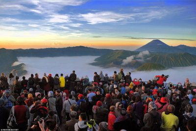 This is how crowded it can be at sunrise at Mount Bromo