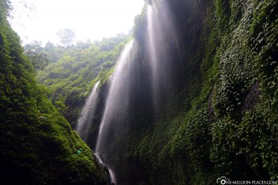 The waterfalls from the mountain slopes