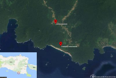 The location of the turtle breeding station in Sukamade