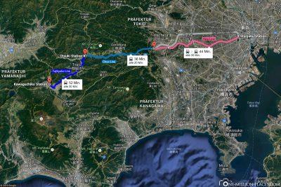 Die Bahnverbindungen von Tokio zum Shibazakura Festival