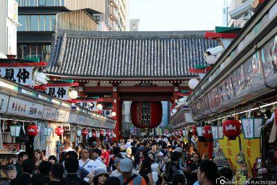 The market street in Asakusa