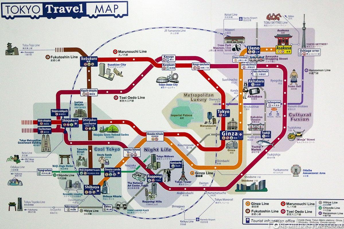Karte, Plan, Tokio, Japan, Sehenswürdigkeiten, Auf eigene Faust, Stadtbesichtigung, Reisebericht