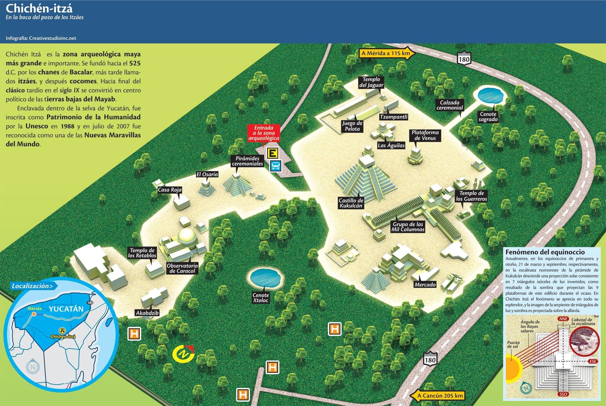 Karte, Plan, Chichen Itza, Mayastätte, Ruine, Halbinsel Yucatan, Mexiko, Auf eigene Faust, Reisebericht