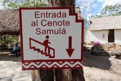 The entrance to the Cenote Samula