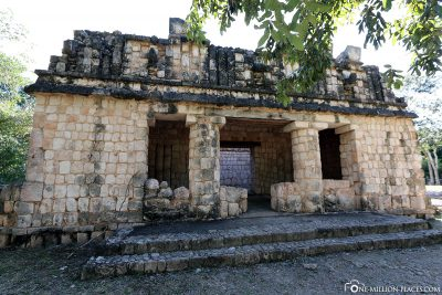 The remains of the ancient Mayan buildings