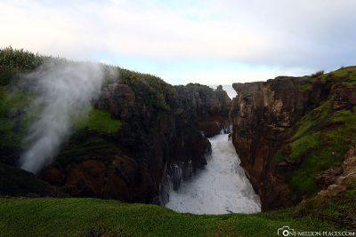 Blowhole an den Pancake Rocks