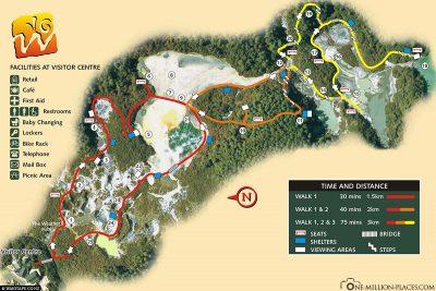 Karte der verschiedenen Rundwege in Wai-O-Tapu