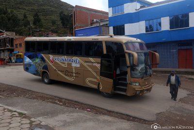 Start der Bustour von La Paz nach Puno