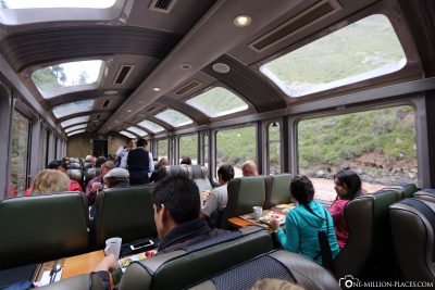 The Vistadome train to Aguas Calientes