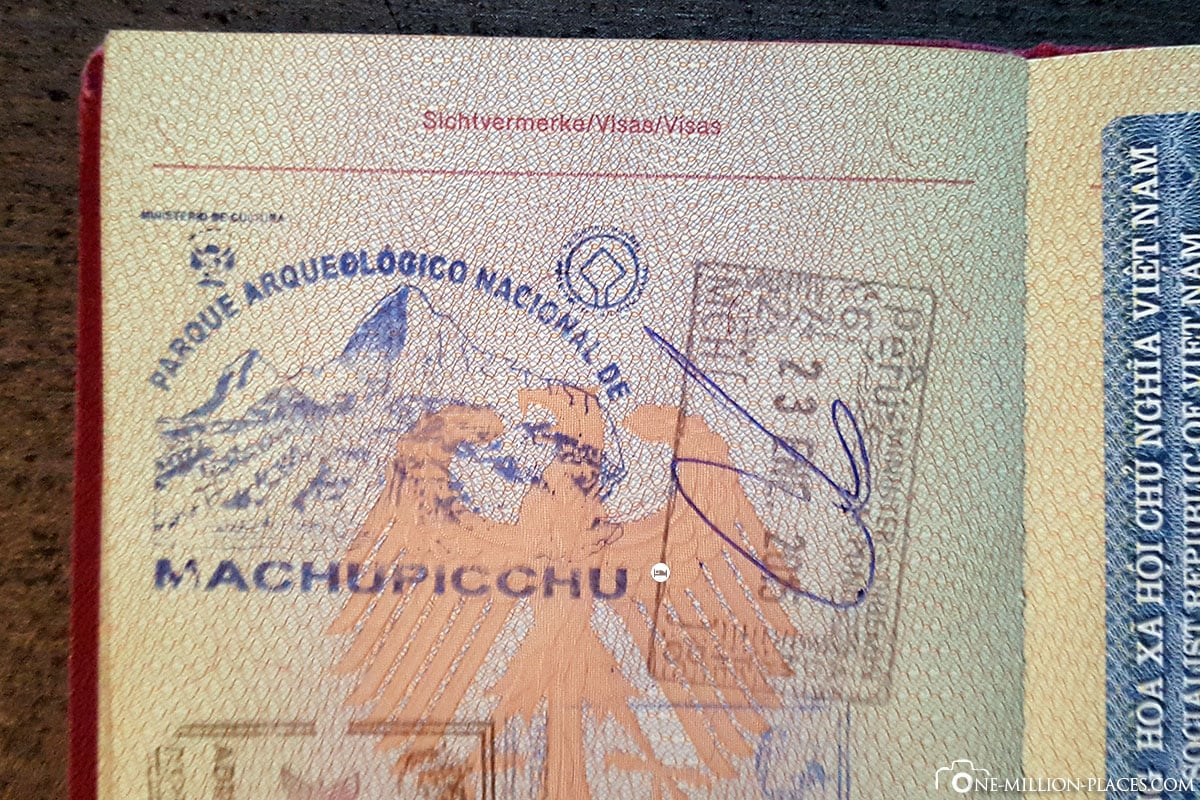 Stempel im Reisepass, Machu Picchu, Auf eigene Faust, Aguas Calientes, Inkastadt, Ruinen, UNESCO Welterbe, Peru, Südamerika, Reisebericht