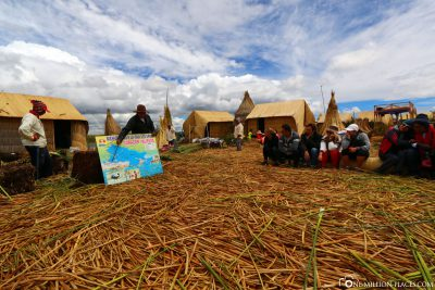 The floating villages in Lake Titicaca