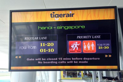 Our flight from Hanoi to Singapore
