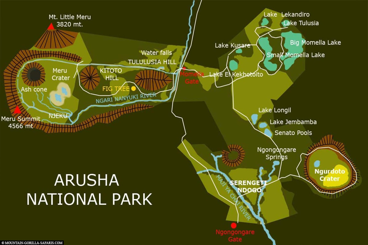 Map, Plan, Arusha National Park, Safari, Tour, Tanzania, Travel Report