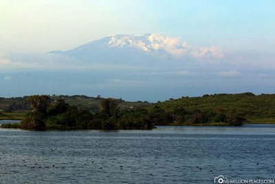 Lake Momella with Mount Kilimanjaro