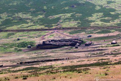View of a Masai village