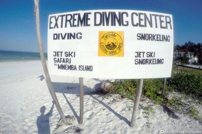 The Extreme Diving Center on Sansibar