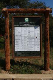 Die Preise für den Eintritt zum Serengeti Nationalpark