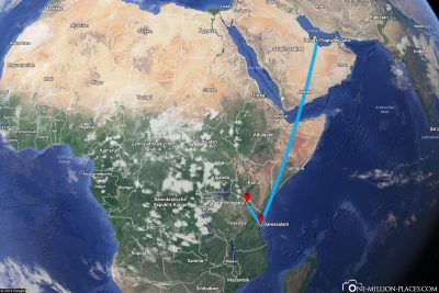 Our flight from Doha to Kilimanjaro