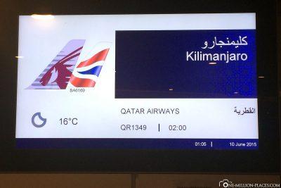 Our flight to Kilimanjaro