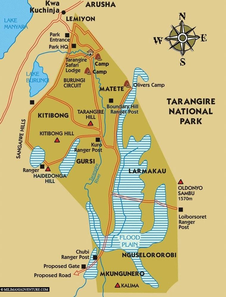 Map, Plan, Tarangire National Park, Safari, Tanzania, Africa, Tour, Travel Report