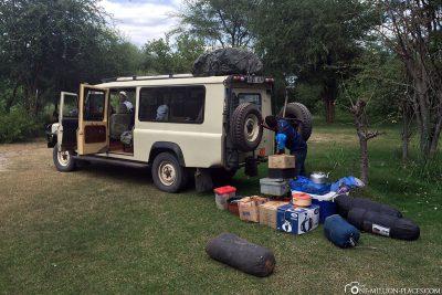 Unloading the equipment