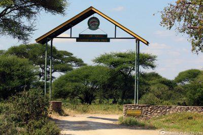 Der Haupteingang des Tangire Nationalparks