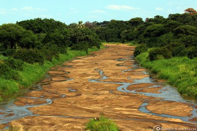 The almost dried-up riverbed