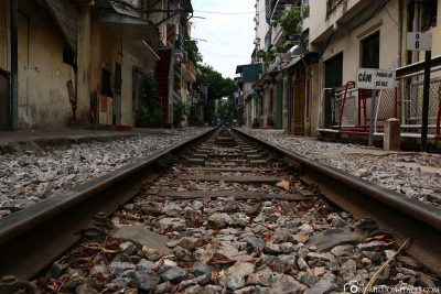 The railway line directly through the city