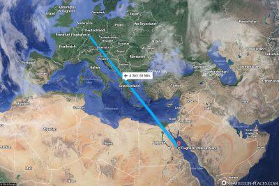 Die Flugstrecke von Frankfurt nach Marsa Alam