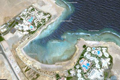 Eine Übersichtskarte des Hausriffs der Coraya Bucht