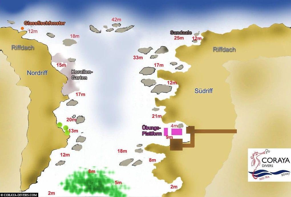 Coraya Bay Diving Map, Coryaya Divers, Diving School, Marsa Alam, Egypt, Travelreport