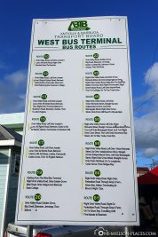 Information board with all destinations on the island