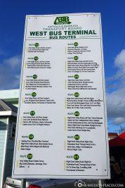 Infotafel mit allen Fahrzielen auf der Insel