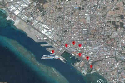 A map of the sights of Oranjestad