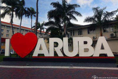 Der I love Aruba Schriftzug