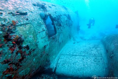 The sunken plane wreckage