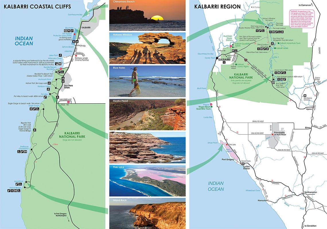 Map, Plan, Kalbarri National Park, Australia, State of Western Australia, On Your Own, Travelreport