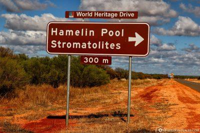 Wegweiser zum Hamelin Pool
